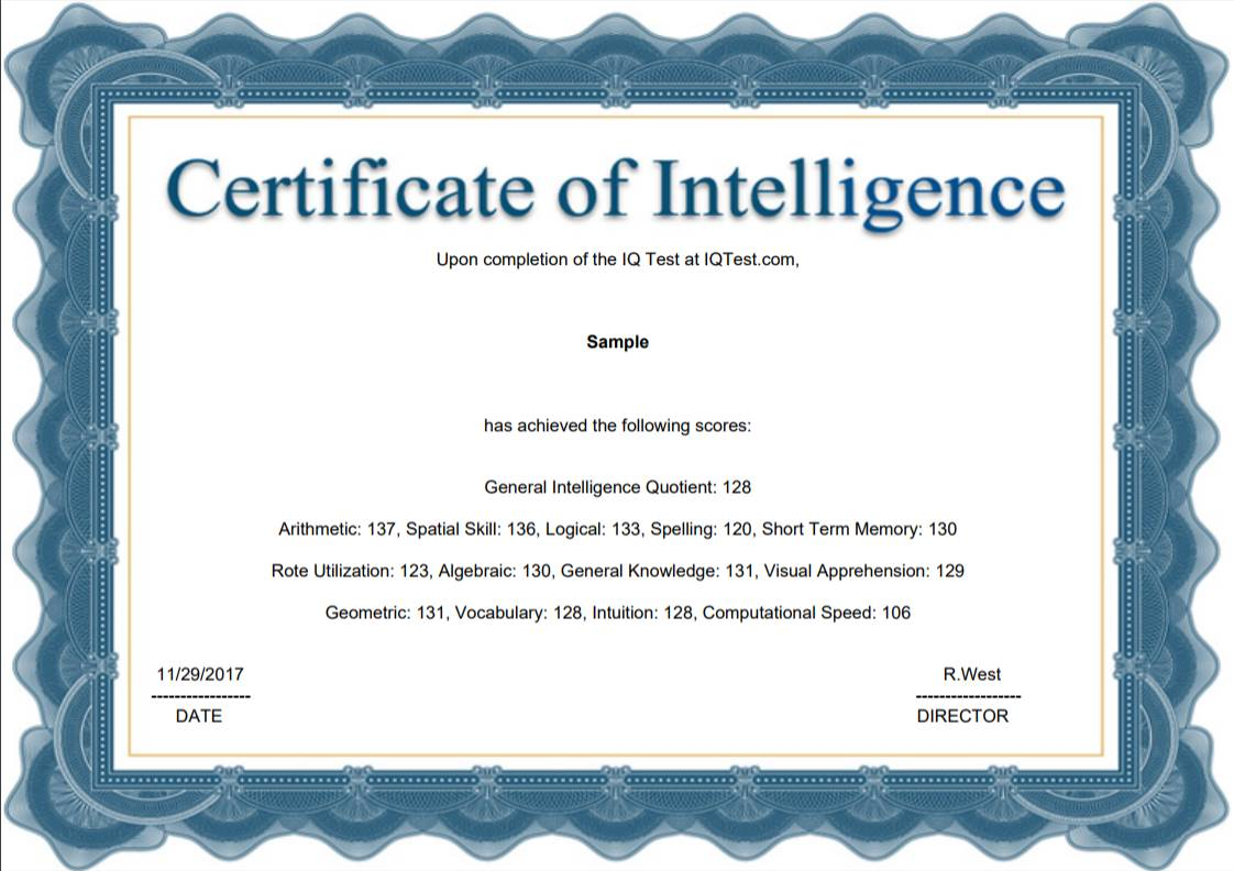 a sample certificate of